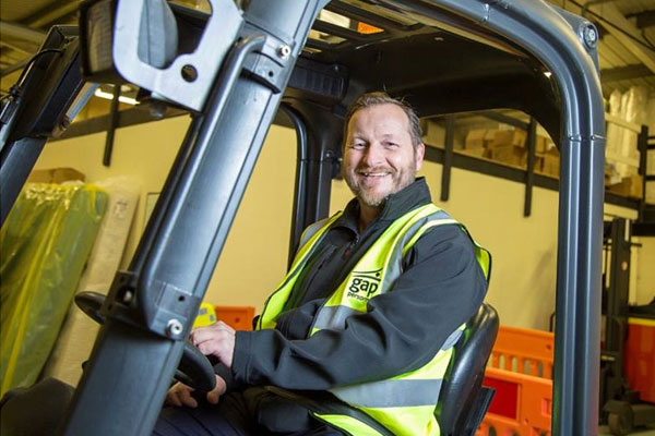 Man on forklift training course