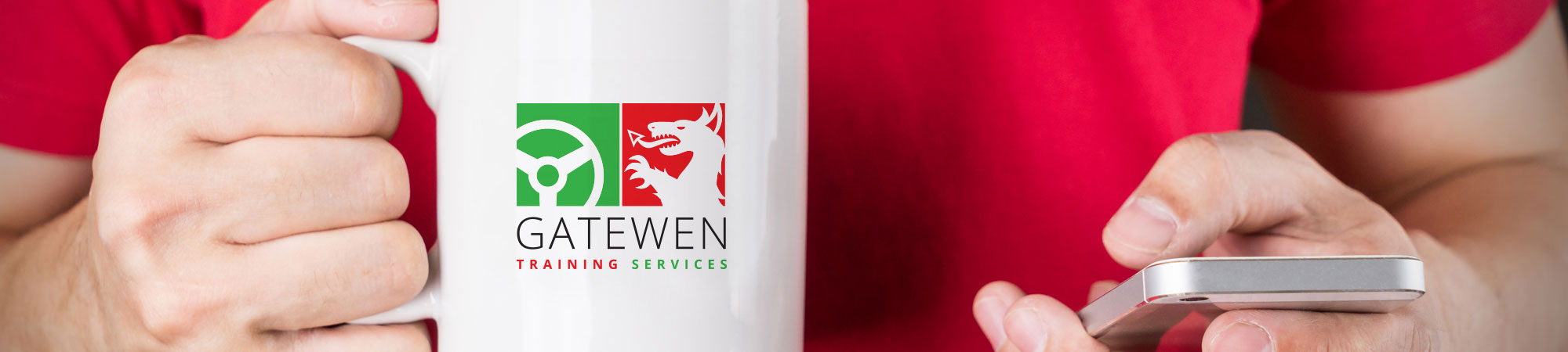 Trainee contacting Gatewen Training Services by phone whilst holding mug