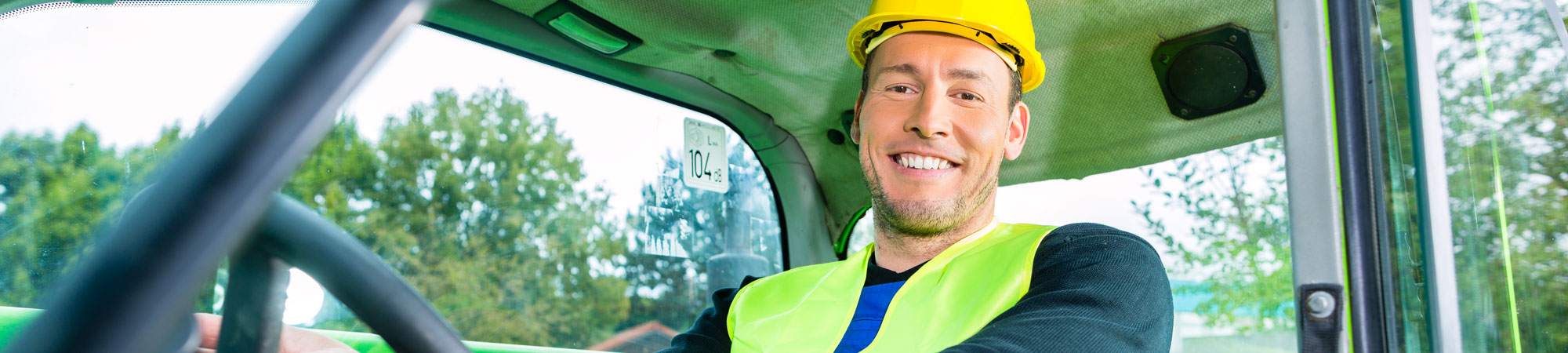 Man completing forklift driver training course in Wrexham