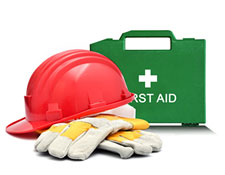 First aid kit and hard hat